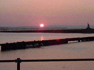 七尾湾の夕日
